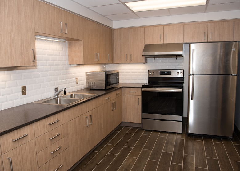 The newly renovated kitchen at the Atlantis Hall dormitory.