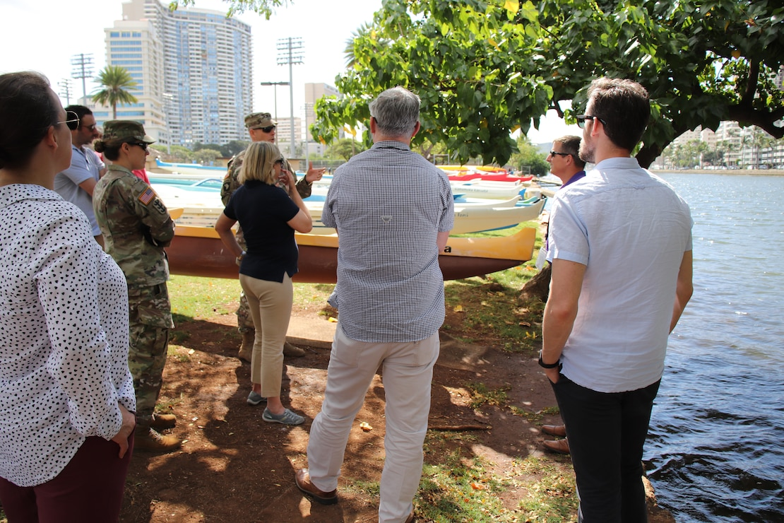 HONOLULU, Hawaii (March 19, 2019) -- Honolulu District's Ala Wai Flood Risk Management project manager Jeff Herzog (second from right) listens to a question about the project from Pacific Ocean Division Commander Brig. Gen. Thomas Tickner (center) during a project area overview at the Ala Wai Canal for staff delegates from the Senate Committee on Environment and Public Works and the House Transportation and Infrastructure Committee.