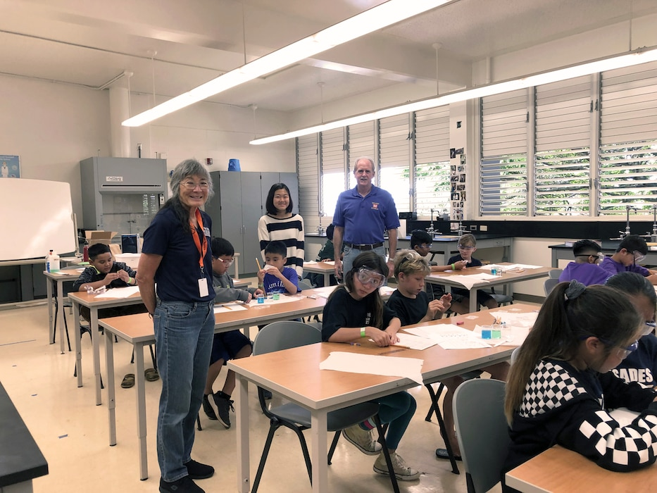PEARL CITY, Hawaii (March 2, 2019) -- Honolulu District's Chief, Engineering & Construction branch Todd Barnes joined forces with his wife Andrea Barnes as judges and event supervisors for the Plastics Detective event at the 2019 Oahu Elementary State Science Olympiad Tournament held at Pearl City High School.  Andrea Barnes is a science teacher at Iolani School in Honolulu and was assisted by Iolanii 8th grade student Myami (last name unknown) for this event.  The Hawaii Elementary Science Olympiad (ESO) is open to all public, private, charter, and home schools in Hawaii as well as groups that involve students in grades 3 to 6. The Hawaii State Science Olympiad was established in order to provide Hawaii's students with an environment in which they can reach their fullest potential in STEM. Started by a single school in 2004, the Hawaii Science Olympiad program has grown into a competition featuring nearly 100 schools and opening doors for more than 1,000 of Hawaii's students each year to strengthen and showcase their STEM skills.