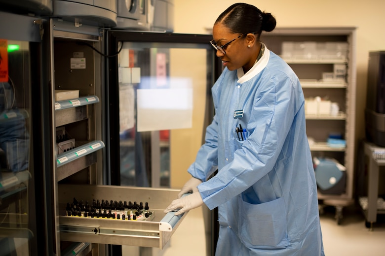 U.S. Air Force Senior Airman Jade Cairns, 60th Medical and Diagnostics Therapeutic Squadron Transfusion Services technician, checks blood samples April 4, 2019, at Travis Air Force Base, California. David Grant USAF Medical Center operates the Air Force's larges clinical laboratory, supporting 465 health care providers and 325,000 patients per year. Technicians perform 1.2 million tests annually in chemistry, special chemistry, hematology, coagulation, immunology, microbiology, point-of-care testing, histology, cytology and transfusion services. (U.S. Air Force photo by Airman 1st Class Jonathon Carnell)