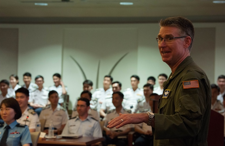United States Air Force Brig. Gen. Harold E. Rogers, Mobilization Assistant to the Director, Air and Cyberspace Operations, Headquarters Pacific Air Forces, addresses Republic of Korea Air Force academy cadets during their visit to Headquarters PACAF, Joint Base Pearl Harbor-Hickam, Hawaii, Apr. 2, 2019.