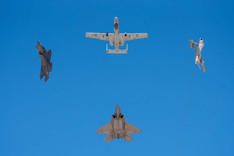 A formation of different aircraft
