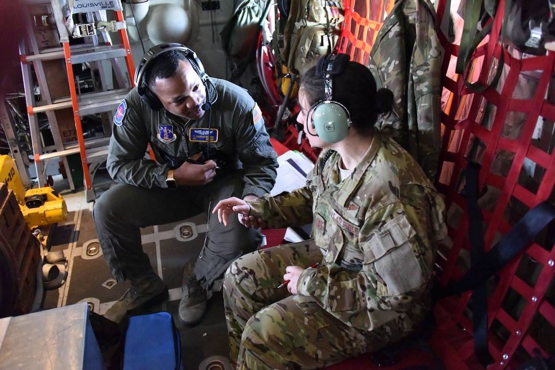 The 142nd Aeromedical Evacuation Squadron train in flight for a number of different scenarios. They prepared and loaded a C-130 Hercules for multiple teams and patients, then conducted operations once under way. The training focused on pediatric and obstetrics, but included multiple scenarios with other team members serving as patients. (U.S. Air Force photo by Staff Sgt. Shawn Lowe)