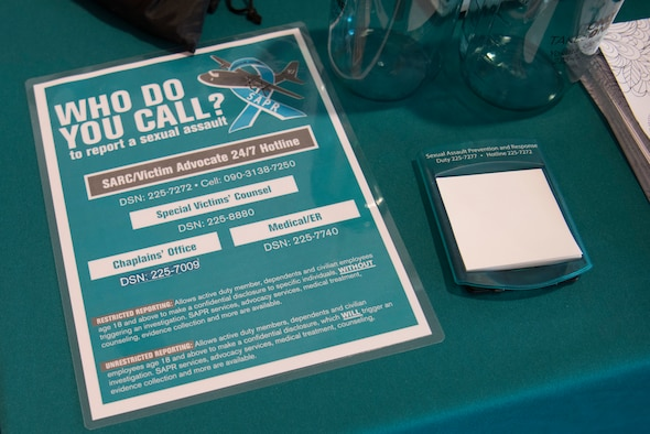 A Sexual Assault and Prevention and response poster sits on display during the Family Advocacy and SAPR information fair, Apr. 11, 2019, at Yokota Air Base, Japan.
