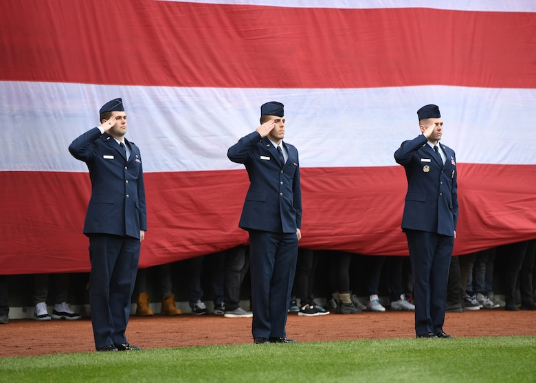Airmen take part in pre-game activities
