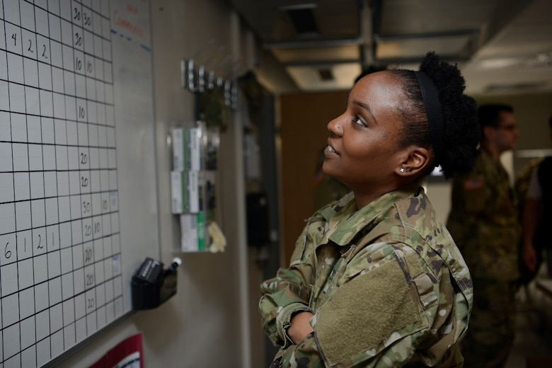 U.S Air Force Tech. Sgt. Déja Kiziah, 86th Medical Squadron non commissioned officer in charge of shipping, analyzes data to help coordinate the shipping of lifesaving blood supplies to customers throughout U.S. European Command and U.S. Africa Command.
