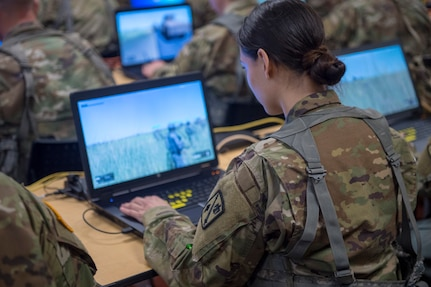 Oklahoma Army National Guards members with Headquarters Company, 271st Brigade Support Battalion, 45th Field Artillery Brigade, use a virtual system, known as the Virtual Battle Space III (VBS3), April 6, 2019, in order to train as a team in virtual scenarios in preparation for an upcoming Exportable Combat Training Capability (XCTC), Operation Western Strike.