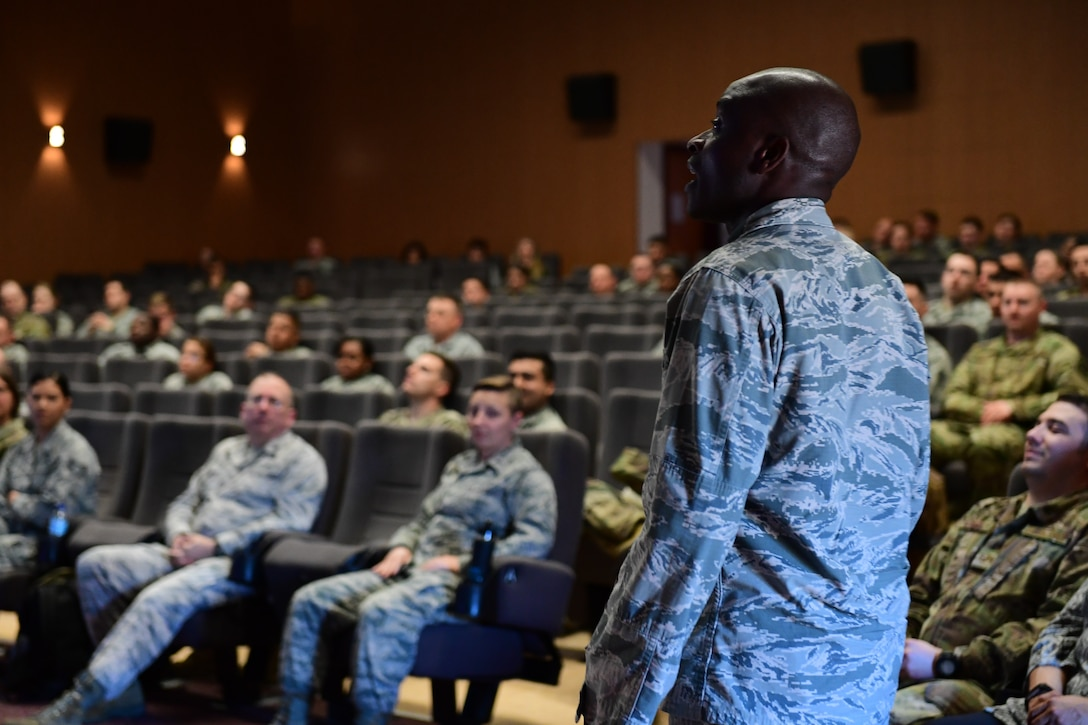 Chaplain (Capt.) John Appiah, 39th Air Base Wing Chaplain, briefs Airmen during ancillary training, Feb. 13, 2019, at Incirlik Air Base, Turkey. The training was conducted by subject matter experts as a way to provide a more interactive method and target objectives specific to Incirlik. (U.S. Air Force photo by Senior Airman Trevor Gordnier)
