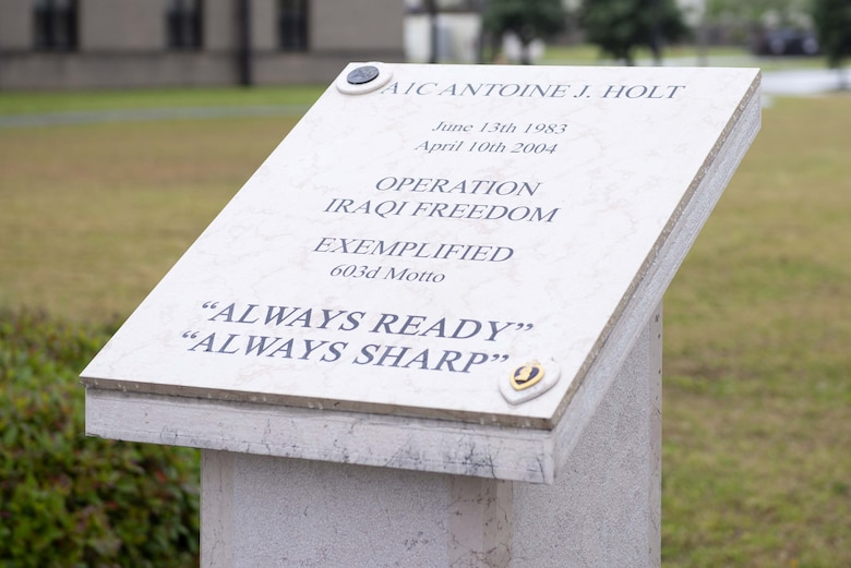 The Holt Memorial is displayed at Avery Manor on Keesler Air Force Base, Mississippi, April 5, 2019. The memorial was made to honor U.S. Air Force Airman 1st Class Antoine Holt at Aviano Air Base, Italy, and was then moved to Avery Manor after the 603rd Air Control Squadron was decommissioned. Holt received a Purple Heart after being killed in action while serving in Iraq. (U.S. Air Force photo by Airman 1st Class Kimberly Mueller)