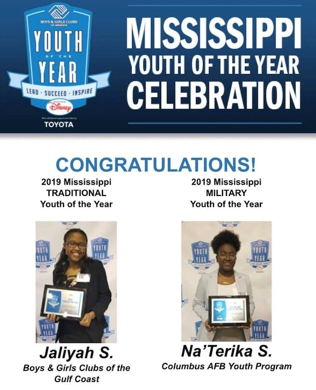 The 2019 winners of the Mississippi Youth of the Year Celebration, March 6-8 in Clarksdale, Miss. NaTerika Shellman competed against Youth of the Year selections from Keesler Air Force Base and Naval Air Station Meridian. (Courtesy photo)
