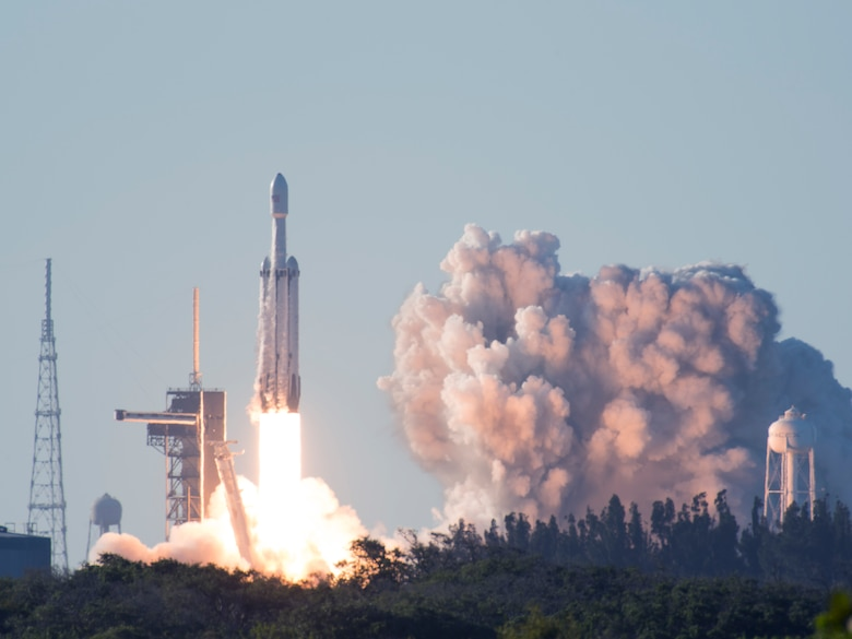 SpaceX's Falcon Heavy Arabsat 6A lifts off from Space Launch Complex 39A on April 12, 2019 at Kennedy Space Center, Fla. This flight marks the second launch of the Falcon Heavy rocket; the most powerful space vehicle flying today. (U.S. Air Force photo by 2nd Lieutenant Alex Preisser)