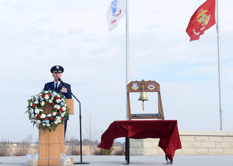 U.S. Air Force Col. Michael Manion, 55th Wing commander, speaks at the Omaha National Cemetery as the 55th Wing Association dedicated a monument to all of the past, present and future members of the 55th Wing on April 6, 2019. The ceremony was attended by scores of wing veterans as well as a large contingent of those currently serving in the unit. (U.S. Air Force photo by Charles Haymond)