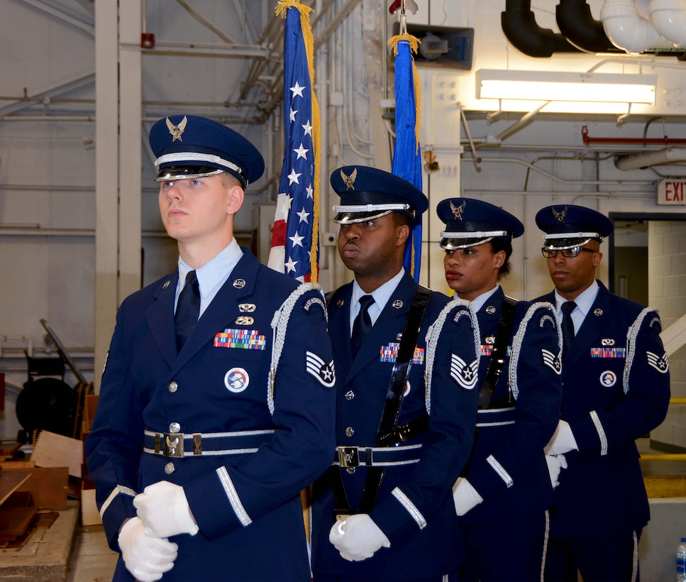 The 72nd Air Base Wing Honor Guard stands ready to present the colors during the 507th Maintenance Group assumption of command ceremony at Tinker Air Force Base, Oklahoma, April 7, 2019. (U.S. Air Force photo by Tech. Sgt. Samantha Mathison)