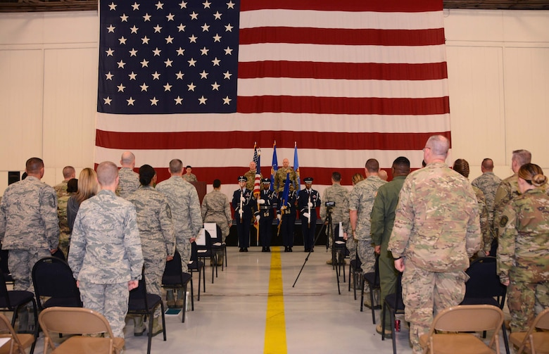 507th Air Refueling Wing commander, Col. Miles Heaslip, and Lt. Col. Karwin Weaver, stand at attention during the presentation of the colors at the 507th Maintenance Group assumption of command ceremony, Tinker Air Force Base, Oklahoma, April 7, 2019. (U.S. Air Force photo by Tech. Sgt. Samantha Mathison)