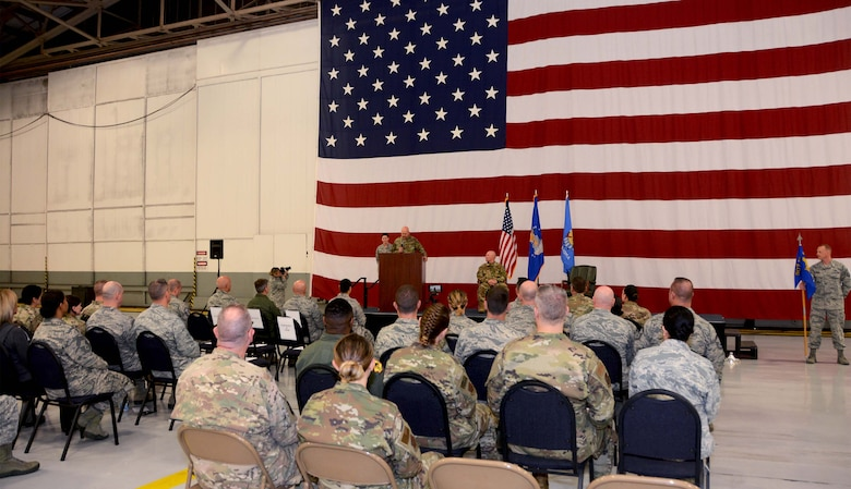 Lt. Col. Karwin Weaver, 507th Maintenance Group commander, delivers his assumption of command speech during a ceremony at Tinker Air Force Base, Oklahoma, April 7, 2019. (U.S. Air Force photo by Tech. Sgt. Samantha Mathison)