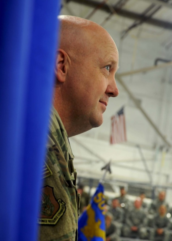 Lt. Col. Karwin Weaver listens as the 507th Air Refueling Wing commander speaks during the 507th Maintenance Group assumption of command ceremony at Tinker Air Force Base, Oklahoma, April 7, 2019. (U.S. Air Force photo by 2nd Lt. Callie McNary)