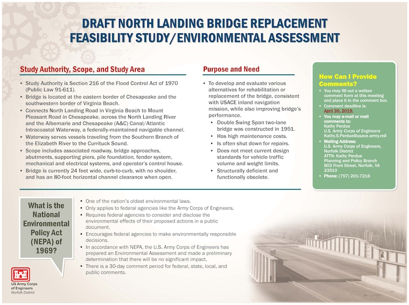 To develop and evaluate various alternatives for rehabilitation or replacement of the bridge, consistent with USACE inland navigation mission, while also improving bridge's performance. Double Swing Span two-lane bridge was constructed in 1951. Has high maintenance costs. Is often shut down for repairs. Does not meet current design standards for vehicle traffic volume and weight limits. Structurally deficient and functionally obsolete.