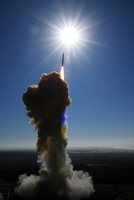 A ground-based interceptor missile launched by theColorado Army National Guard's 100th Missile Defense Brigadeheads skyward to intercept an incoming target missile during a training mission at Vandenberg Air Force Base, Calif., in 2008. Based at Schriever Air Force Base, Colo., the brigade is the only unit of its type in the National Guard and has a detachment at Vandenberg and subordinate units at Fort Greely, Alaska.