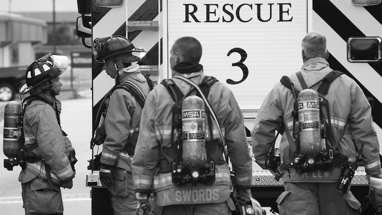 U.S. Airmen assigned to the 20th Civil Engineer Squadron fire department group-up following an incident at Shaw Air Force Base, S.C., April 9, 2019.