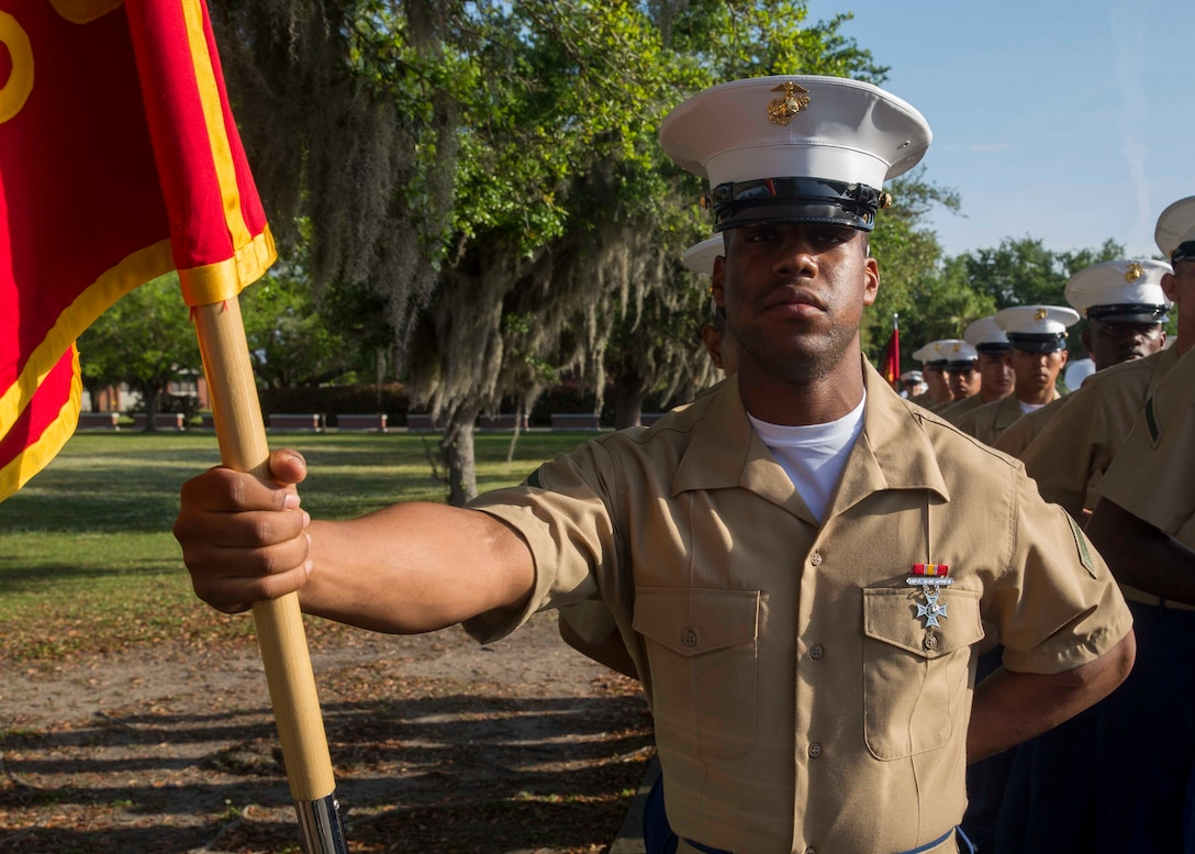 Pfc. Brian K. Dixon graduated from Marine recruit training today as the platoon honor graduate of Platoon 2030, Company F, 2nd Battalion, Recruit Training Regiment. The honor graduate award recognizes the Marine who best exemplifies the total Marine concept, which encompasses physical fitness, marksmanship and leadership traits, during recruit training.  Dixon, a native of Saraland, Alabama, acted as platoon guide for Platoon 2030. Dixon, was recruited at Recruiting Substation Mobile, by Staff Sgt. Adam E. Gillette.   Please send all queries to the Assistant Marketing and Communications Officer, 2nd Lt. Mackenzie Margroum, Mackenzie.margroum@marines.usmc.mil