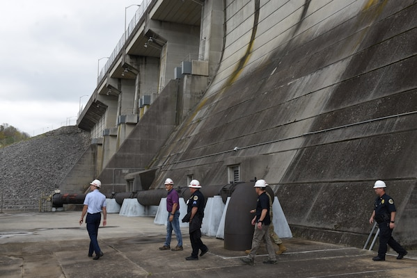 Regional first responders tour J. Percy Priest Dam in Nashville, Tenn., April 5, 2019 during First Responders Day, an event where regional first responders work through a dam security scenario to communicate and facilitate awareness. (USACE photo by Lee Roberts)