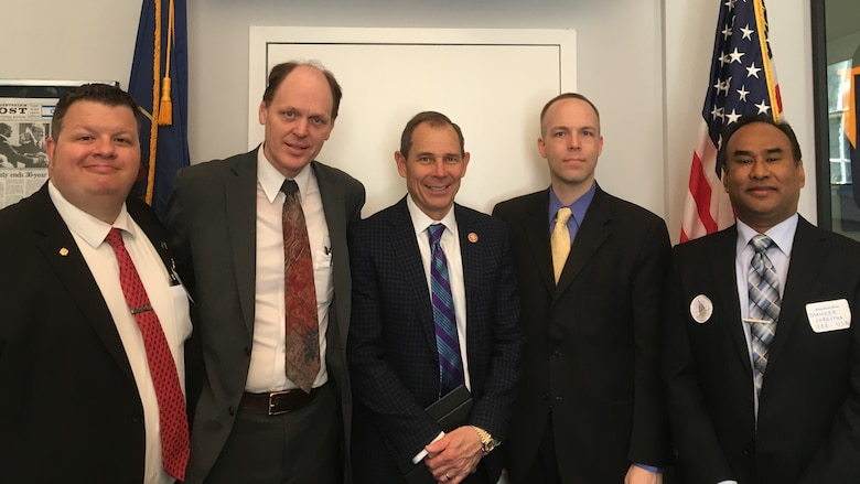 Forrest Brown (second from left), and other members of the Institute of Electrical and Electronics Engineers professional organization, met with Utah's U.S. Rep. John Curtis (center) in Washington D.C. April 3, 2019. The group discussed issues important to the economy and ways for the nation to stay ahead of world competition. (Courtesy photo)