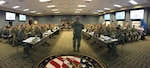 "Maj. Gen. William ""Bill"" Hall, commander, Joint Task Force Civil Support (JTF-CS), briefs the Defense Chemical, Biological, Radiological and Nuclear (CBRN) Response Force (DCRF) during the 2019 Mission Planning Conference (MPC) at the JTF-CS headquarters at Fort Eustis, Va. The main focus of the conference was to prepare for an upcoming major disaster-response training exercise and the DCRF mission. The attendees represented JTF-CS and units comprising four task forces including operations, medical, logistics and aviation, and other organizations preparing for Exercise Vibrant Response-Guardian Response 2019 which will be held in locations in Michigan, Indiana and some support in Texas, April 29-May 6. (Official DoD photo by Mass Communication Specialist 3rd Class Michael Redd/released)"