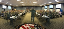"""Maj. Gen. William """"Bill"""" Hall, commander, Joint Task Force Civil Support (JTF-CS), briefs the Defense Chemical, Biological, Radiological and Nuclear (CBRN) Response Force (DCRF) during the 2019 Mission Planning Conference (MPC) at the JTF-CS headquarters at Fort Eustis, Va. The main focus of the conference was to prepare for an upcoming major disaster-response training exercise and the DCRF mission. The attendees represented JTF-CS and units comprising four task forces including operations, medical, logistics and aviation, and other organizations preparing for Exercise Vibrant Response-Guardian Response 2019 which will be held in locations in Michigan, Indiana and some support in Texas, April 29-May 6. (Official DoD photo by Mass Communication Specialist 3rd Class Michael Redd/released)"""