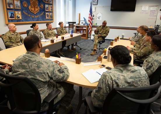 Chief Master Sgt. of the Air Force Kaleth O. Wright briefs instructors at the Vosler Noncommissioned Officer Academy on Peterson Air Force Base, Colo., April 11, 2019. During his visit, Wright told stories of his time as an NCOA instructor and stressed the importance of professional military education in developing Airmen. (U.S. Air Force photo by Staff Sgt. Emily Kenney)