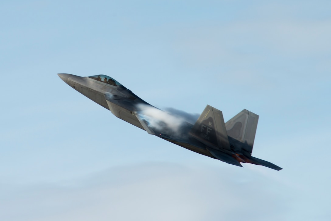 A 1st Fighter Wing F-22 Raptor stationed out of Joint Base Langley Eustis, Virginia, takes off during Gunfighter Flag, April 5, 2019 at Mountain Home Air Force Base, Idaho. The exercise Gunfighter Flag is held once a quarter to hone skills of 366th Fighter Wing Airmen. (U.S. Air Force photo by Staff Sgt. Tyler Bowers)