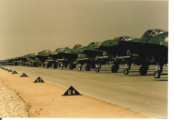 A line up of the A-10s that operated during Operation Desert Storm.
