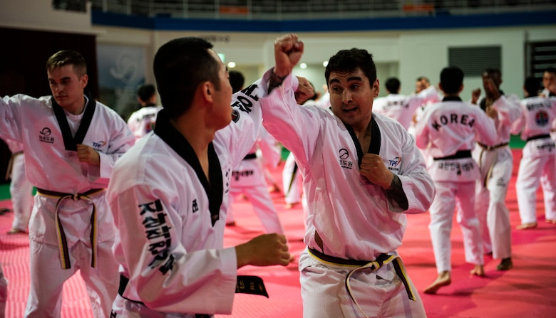 Members from the United States Forces-Korea, practice combatives with Republic of Korea Army soldiers during a Korean Ministry of Defense tour at Muju, Republic of Korea, April 9, 2019. The MND Taekwondo camp gave U.S. service members a chance to practice Taekwondo and learn about its history and importance to Korean culture. (U.S. Air Force photo by Senior Airman Stefan Alvarez)