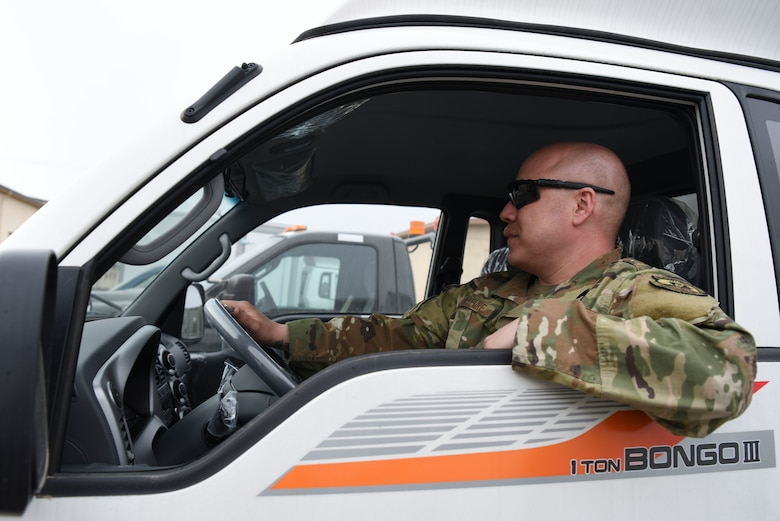 U.S. Air Force Tech. Sgt. Cale McClure, 35th Ammunitions Unit support section chief, picks a brand new vehicle up from the 8th Logistics Readiness Squadron at Kunsan Air Base, Republic of Korea, April 9, 2019. Eight units at Kunsan are receiving the vehicles, guaranteeing pivotal increased mission capability. (U.S. Air Force photo by Senior Airman Savannah L. Waters)