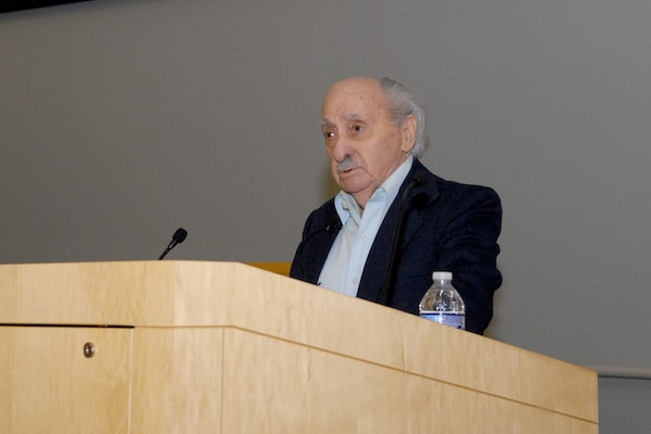 David Tuck, a Holocaust survivor, shares his personal story during the Holocaust Observance Program April 10 in Philadelphia. Tuck served as the keynote speaker for the event. (Photo by Ed Maldonado)