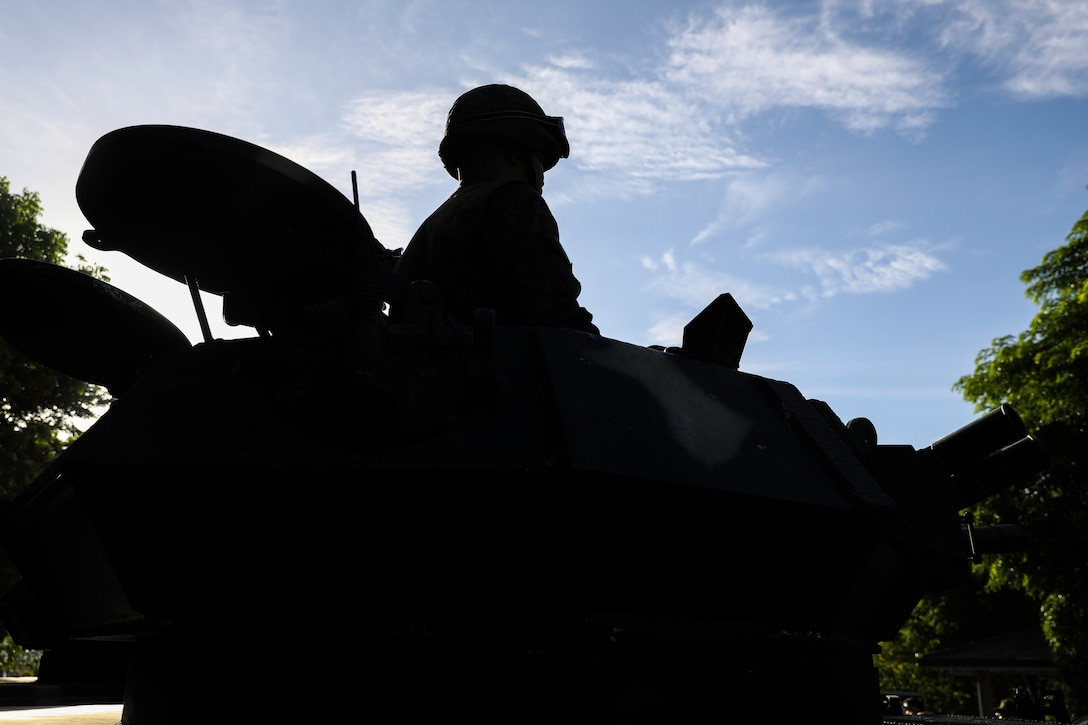 Soldiers with the Philippine Army hold a display of military equipment during the Bataan Death March memorial April 10, 2019 in Bataan, Philippines.