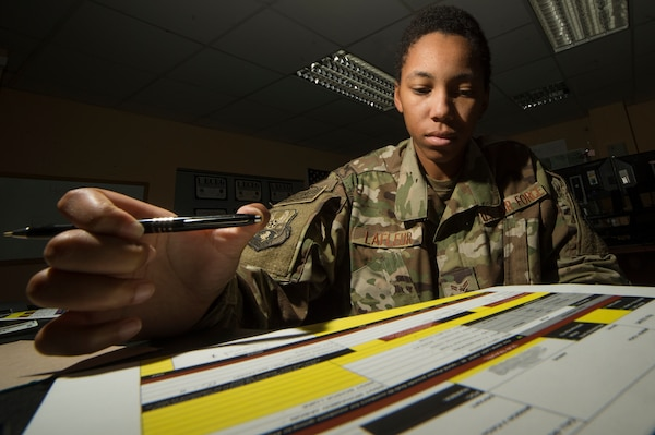 U.S. Air Force Airman 1st Class Evanah Lafleur, 557th Expeditionary RED HORSE Squadron logistics planner, verifies inbound passenger information at Al Udeid Air Base, Qatar, April 3, 2019. Lafleur is responsible for coordinating the movement of civil engineers and cargo to construction sites at deployed locations across U.S. Central Command (CENTCOM). Logistics Airmen were vital in the completion of more than 400 construction missions across the CENTCOM theater during a six-month period. (U.S. Air Force photo by Tech. Sgt. Christopher Hubenthal)