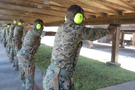 Dozens of Marines from various tenant commands aboard Marine Corps Logistics Base Albany practiced and some even qualified for the Combat Pistol Program with the Beretta M9 service pistol, March 27. Pistol qualification is required annually to sustain the skills of pistol marksmanship. In order to ensure Marines are properly trained with the weapon, the Marine Corps utilizes the Combat Pistol Program. One of the hallmarks of the CPP is how the first two stages of qualification start with the weapon in the holster, requiring the Marine to present the weapon and engage the target in one motion -- this gives the training a more combat-oriented and tactical approach. Following classroom instruction and non-fire sessions, Marines participate in live-fire drills -- training blocks one through three. During these training blocks, range coaches have the opportunity to mentor and guide Marines, which result in a more qualified, skilled and effective Marine with the service pistol. The CPP is just one of the ways the Marine Corps has made training more realistic and combat-oriented to better prepare Marines. (U.S. Marine Corps photo by Re-Essa Buckels)