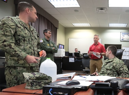 Marine Corps Logistics Base Albany held its annual gulf coast hurricane exercise with units from Naval Air Station Pensacola, Naval Air Station Pensacola Corry Station, Naval Air Station Whiting Field and Eglin Air Force Base, April 2. 