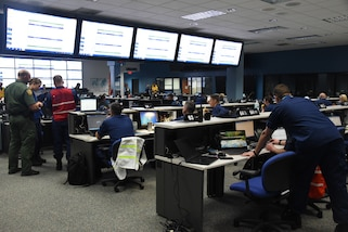 The Coast Guard and members of multiple partner agencies participate in Integrated Advance 2019 exercise at the Miami-Dade County Emergency Operations Center