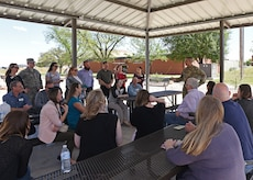 U.S. Air Force Lt. Col. Abraham Salomon, 17th Training Group deputy commander, answers questions from the Leadership San Angelo class during their tour of Goodfellow Air Force Base, Texas, April 11, 2019. The Leadership San Angelo program provides individuals the chance to develop their community knowledge by attending a series of 10 one-day sessions, one of which includes Goodfellow. (U.S. Air Force photo by Airman 1st Class Zachary Chapman/Released)