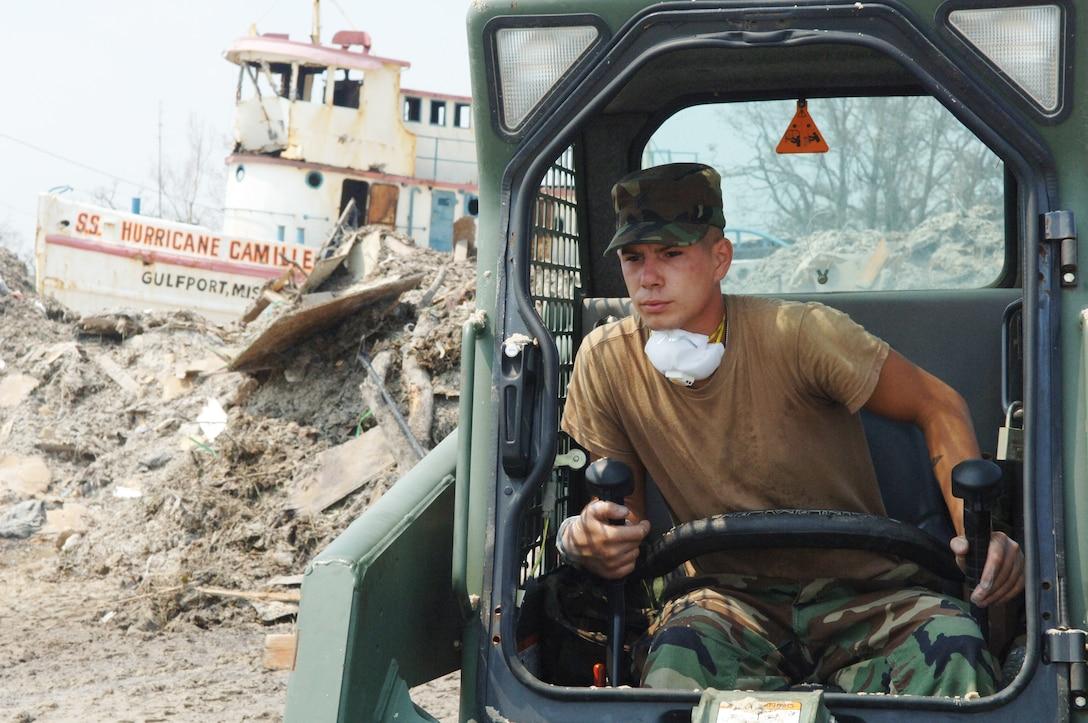 Man drives heavy equipment