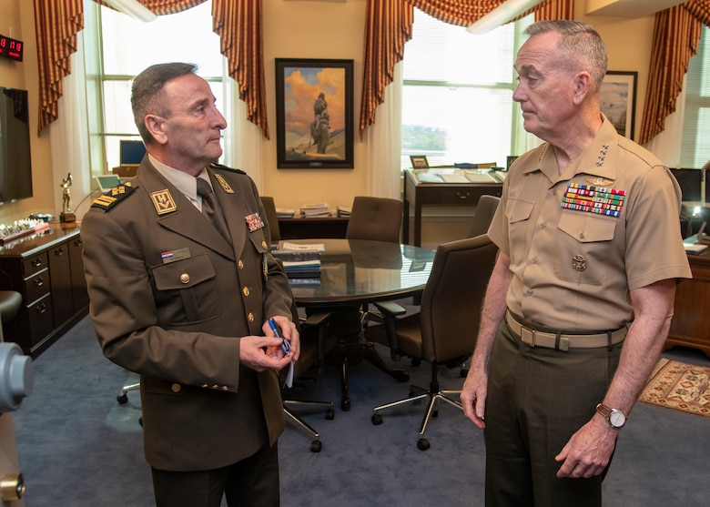 Chairman of the Joint Chiefs of Staff Gen. Joe Dunford hosts Croatian Chief of Defense Gen. Mirko Sundov for an official visit in the Pentagon, Washington D.C., April 15, 2019.