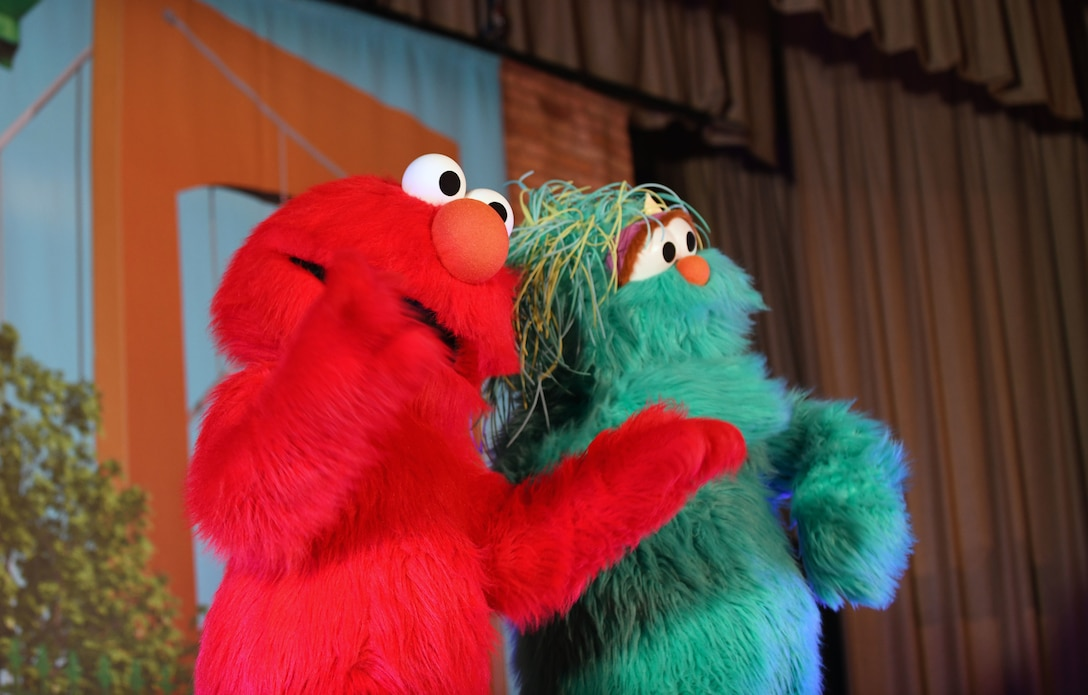 Characters from Sesame Street Live perform at the base theater on Ellsworth Air Force Base, S.D., March 28, 2019. Families were able to get up close and personal with their favorite characters while singing, dancing and learning about the importance of community.  (U.S. Air Force photo by Airman 1st Class Christina Bennett)