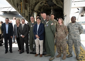 """Costa Rican President Carlos Alvarado Quesada met with the U.S. Air Force Reserve Hurricane Hunters April 10, 2019, at the Juan Santamaria International Airport, San Jose, Costa Rica during the Caribbean Hurricane Awareness Tour. During the event the NOAA hurricane specialists and Reserve Citizen Airmen of the 53rd Weather Reconnaissance Squadron discussed hurricane preparedness, resilience and how they can become """"weather-ready"""" during the event April 8-13, 2019.  As part of the event, dignitaries, students and the public toured the Air Force Reserve Command's WC-130J """"Hurricane Hunter"""" aircraft to learn how scientists collect hurricane information. (U.S. Air Force photo/Lt. Col. Marnee A.C. Losurdo)"""