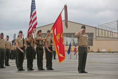 Sgt. Maj. Michael Lambert salutes the retiring officer during  Marine All Weather Fighter Attack Squadron 224's relief and appointment ceremony aboard Marine Corps Air Station Beaufort, April 12. During the ceremony, Lambert was relieved of his duties as sergeant major of VMFA(AW)-224 by Sgt. Maj. Jorge A. Guerrero.