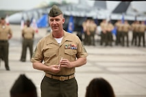 Sgt. Maj. Michael Lambert addresses the crowd during relief and appointment aboard Marine Corps Air Station Beaufort, April 12. After the ceremony, Lambert retired after 23 years of service.