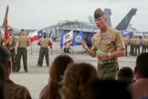 Lt. Col. David Mills speaks during Sgt. Maj. Michael Lambert's retirement aboard Marine Corps Air Station Beaufort, April 12. Lambert retired after 23 years of service to the Marine Corps.