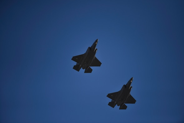 An image of two F-35A Lightning II's flying in the sky