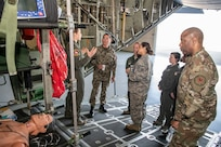 Members of the 167th Aeromedical Evacuation Squadron, 130th Airlift Wing, brief Maj. Gen. Luis Gutiérrez, Delegate to the Inter-American Board (IADB) of Defense Organization of the United States, on aeromedical evacuation capabilities of the unit and configuration on a U.S. Air Force C-130H April 10, 2019, at McLaughlin Air National Guard Base in Charleston. Gutiérrez's visit is part of the State Partnership Program (SPP) between West Virginia and Perú which fosters interagency engagements especially in the areas of counter-insurgency, anti-terrorism, emergency preparedness, risk mitigation, and disaster response and recovery. (U.S. Army National Guard photo by Bo Wriston)