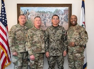 "Brig. Gen. Russell Crane, Assistant Adjutant General – Army, Maj. Gen. James Hoyer, Adjutant General of the West Virginia National Guard, and Brig. Gen. Christopher ""Mookie"" Walker, Assistant Adjutant General – Air, pose for a group photo with Maj. Gen. Luis Gutiérrez, Delegate to the Inter-American Board (IADB) of Defense Organization of the United States, during his visit to West Virginia Apr. 10, 2019. Gutiérrez's visit is part of the State Partnership Program (SPP) between West Virginia and Perú which fosters interagency engagements especially in the areas of counter-insurgency, anti-terrorism, emergency preparedness, risk mitigation, and disaster response and recovery. (U.S. Army National Guard photo by Bo Wriston)"